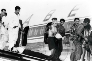 Hostages being rescued from the Sabena flight