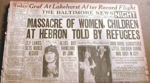 "Headline in the newspaper ""Baltimore"" on the massacre in Hebron"