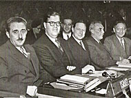 Abba Eban with Foreign Minister Moshe Sharet at the UN, 1950