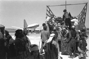 Immigrants from Iraq leaving Lod airport on their way to ma'abara, 1951 (courtesy of www.gpo.gov.il)