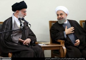 A happy Iranian supreme leader Khamenei president Rouhani meet their cabinet after Vienna accord is announced (Iranian TV)