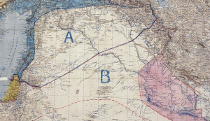 A map of the Sykes–Picot agreement, which was signed by Mark Sykes and François Georges-Picot on May 8, 1916. (photo credit: Wikimedia Commons)