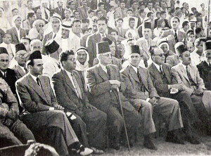 Members of the Arab Higher Committee right to left: Ahmad Shukeiri, Hussein al-Khaldi, Jamal Husseini, Ahmed Halmi (holding a walking stick), Yusuf Heykal (mayor of Jaffa)