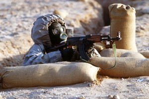 Syrian soldier aims Russian-made AK-47 (photo by: Tech. Sgt. H. H. Deffner)