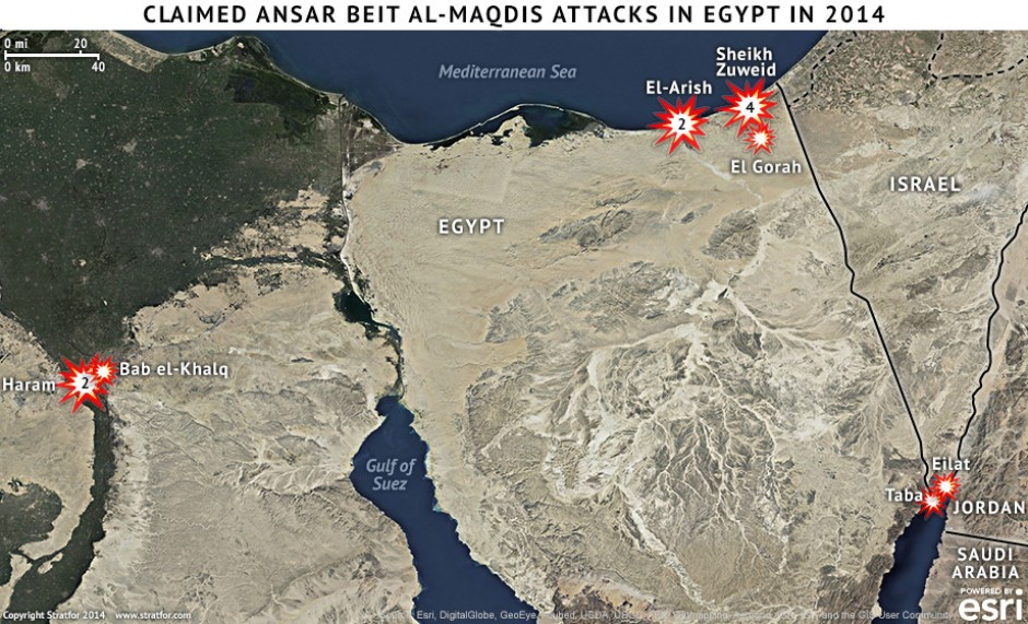 Claimed Ansar Beit al-Maqdis Attacks in Egypt in 2014 is republished with permission of Stratfor. https://www.stratfor.com/image/claimed-ansar-beit-al-maqdis-attacks-egypt-2014