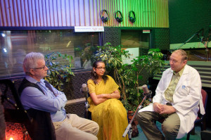 David Essing, Dr. Archana Jabhav and Prof. Reuven Or at IsraCast Studios (© IsraCast)
