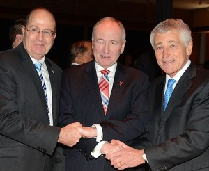 Israeli Minister of Defense Moshe Yaalon with Canadian Minister of Defense Rob Nicholson, and US Secretary of Defense Chuck Hagel (photo credit: Halifax International Security Forum)