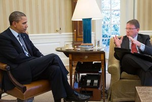 Jeffrey Goldberg and President Obama (photo credit: White House, Pete Souza)