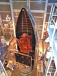 Landsat 7 satellite stowed inside its fairing. April-10-1999 (Image: NASA)