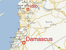 Map of Syria showing location of Idlib in relation to Damascus (photo credit: telegraph.co.uk)