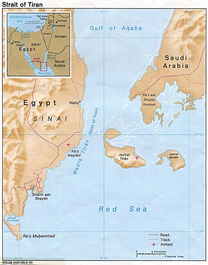 Map of the Strait of Tiran (courtesty of U.S. Central Intelligence Agency)