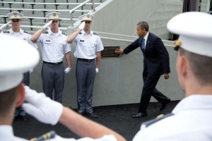 Obama at West Point Military Academy for commencement. (photo credit: Official White House Photo by Pete Souza)