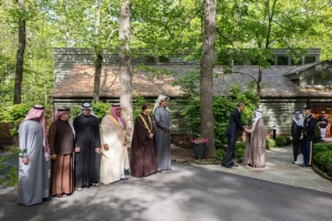 Obama shakes hands with Amir of Kuwait, Sheikh Sabah Al-Ahmad Al-Jaber Al Sabah, at Camp David. (photo credit: Official White House Photo by Pete Souza)