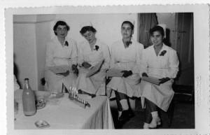 Nurses in Shaare Zedek's School of Nursing during Chanukah, 1954