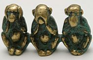 Three wise monkeys figure (credit: Tumi)