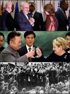 Upper: Javad Zarif & Catherine Ashton | Center: Kim Kong Il & Madeline Albright | Lower: Neville Chamberlain holding signed Munich Accord