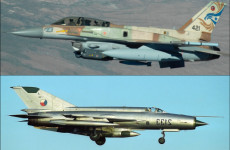 (above) Israeli F-16 fighter jet, (below) Russian MiG-21R fighter jet)