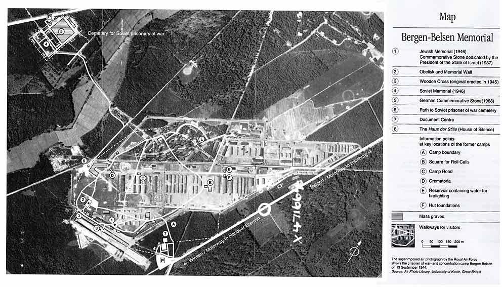 Bergen-Belsen concentration camp (map from the Bergen-Belsen Memorial Museum)