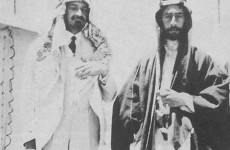 1918. Emir Feisal I and Chaim Weizmann (left, also wearing Arab dress as a sign of friendship)