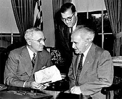 Abba Eban (center) with Israeli PM David Ben-Gurion and US President Harry Truman