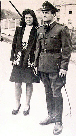 Dinko Sakic in Ustasa uniform with his wife