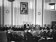 David Ben-Gurion reading the Declaration of Independence - 14 May 1948, Tel Aviv