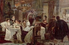 A Moshe Maimon painting of Marranos holding a secret Seder during the times of inquisition (1892)