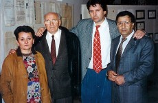 Arie Livne (second from the left) and Avi Yaffe (right) with their Serbian hosts in the museum