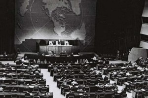 Session of U.N. New York, proclaim establishment of the State of Israel