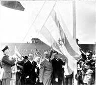 Moshe Sharet, Abba Eban & David Hacohen during the flag raising