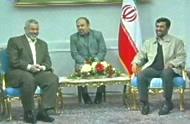 Hamas leader Ismail Haniyeh meeting Iranian president Ahmadinejad