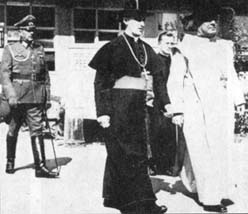 Archbishop Stepinac and the papal nuncio Marcone leave a celebration; behind them is a German General