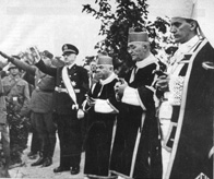 Archbishop Stepinac (right), at an official Croatian ceremony in 1941