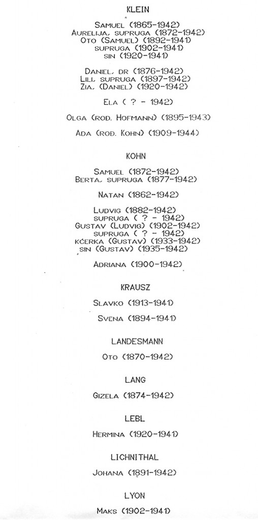 document #2 - death of six Klein family members who all died together in 1942