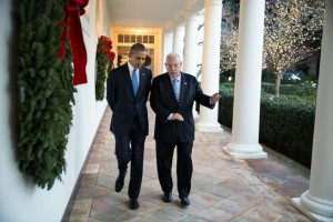 President Barack Obama and Israeli President Reuven Rivlin at the White House, following their participation in a Hanukkah Reception (CC Official White House Photo by Pete Souza)