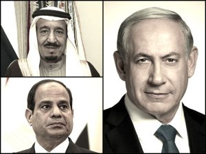 clockwise from bottom: Egyptian President el-Sisi (CC Kremlin.ru via wikicommons), Saudi King Salman, Israeli Prime Minister Netanyahu