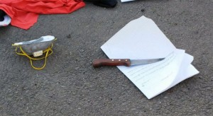 Knife and suicide note found on Palestinian woman killed in attempted stabbing (Copyright: Israel Ministry of Defense)