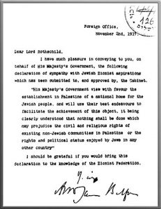 The original letter by Lord Arthur James Balfour: The Balfour Declaration, November 2, 1917