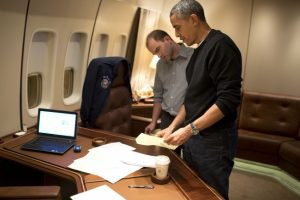 Ben Rhodes discusses speech with Obama on Airforce One (photo: Pete Souza)