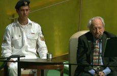 Holocaust surviver, Noah Klieger, speaking to the UN