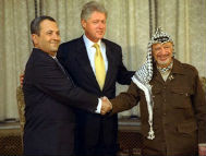 Barak, Clinton, and Arafat during peace negotiations. Photo credit: PD-USGOV